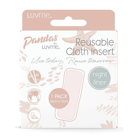 Pandas by Luvme - Bamboo Reusable Cloth Nappy Insert - Night (1 Pack)