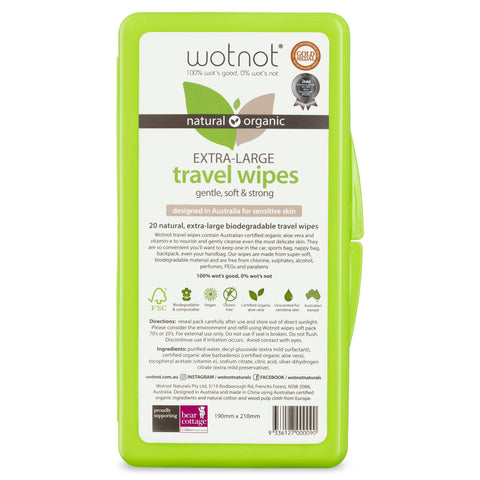 Wotnot - Biodegradable Wipes (20 pack with travel case)
