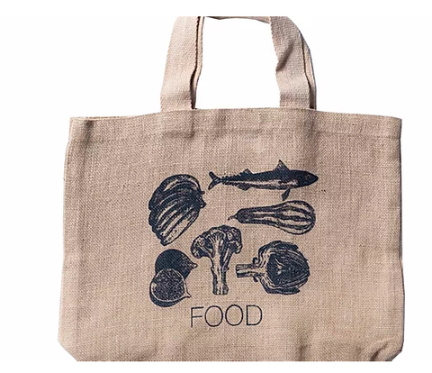 Apple Green Duck Jute Grocer Bag - Charcoal Food