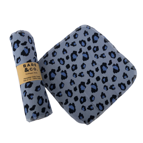 Bare & Co. - Unpaper Towel on a Roll - Blue Leopard (12 Pack)