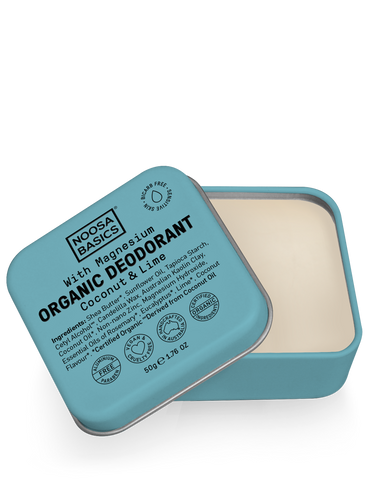 Noosa Basics - Organic Bicarb-Free Deodorant Tin with Magnesium - Coconut and Lime (50g)