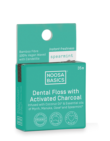 Noosa Basics - Dental Floss with Activated Charcoal - Spearmint(35m)