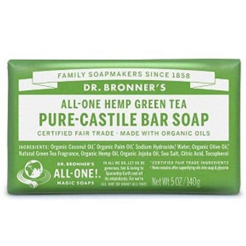Dr Bronners - Castile Soap Bar - Green Tea (140g)