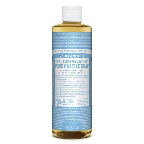 Dr Bronners 18 in 1 Pure Castile - Baby Unscented Liquid Soap 473ml