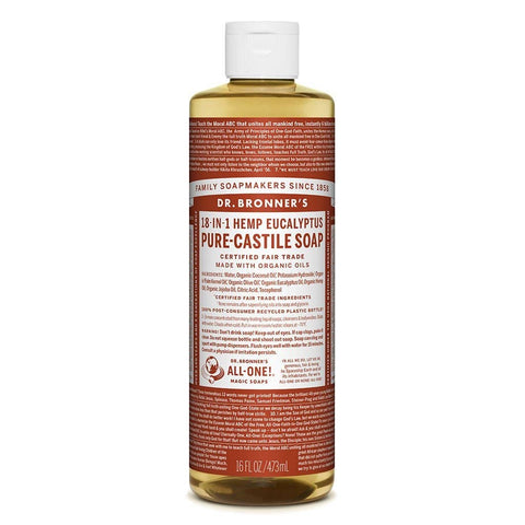 Dr Bronners - 18 in 1 Pure Castile  Liquid Soap - Eucalyptus (473ml)