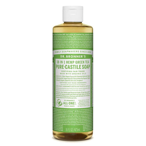 Dr Bronners - 18 in 1 Pure Castile Liquid Soap - Green Tea (473ml)