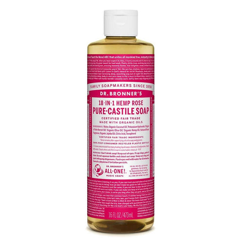 Dr Bronners - 18 in 1 Pure Castile Liquid Soap - Rose (473ml)