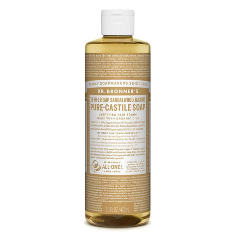Dr Bronners - 18 in 1 Pure Castile Liquid Soap - Sandalwood and Jasmine (473ml)