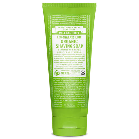 Dr Bronners - Organic Shikakai Shaving Soap - Lemongrass & Lime (207ml)