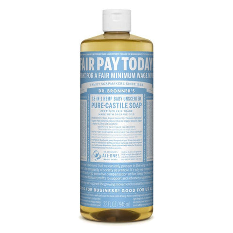 Dr Bronners 18 in 1 Pure Castile - Baby Unscented Liquid Soap 946ml
