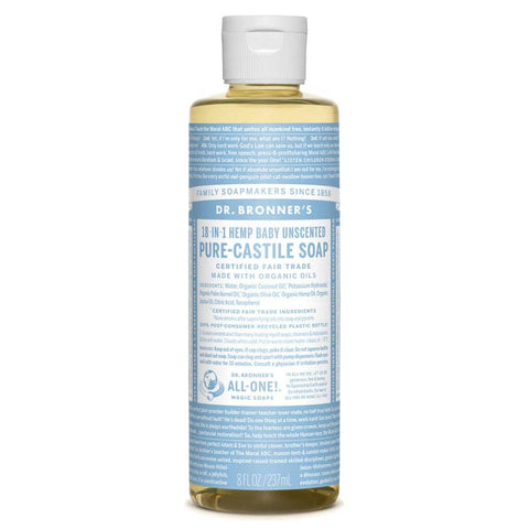 Dr Bronners - 18 in 1 Pure Castile Liquid Soap - Baby Unscented (237ml)
