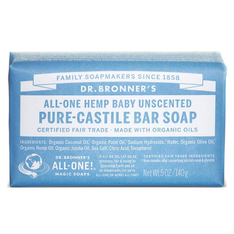 Dr Bronners - Castile Soap Bar  -  Baby Unscented(140g)