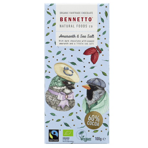 Bennetto Natural Food Co. - Organic and Fairtrade Dark Chocolate - Sea Salt and Amaranth (100g)