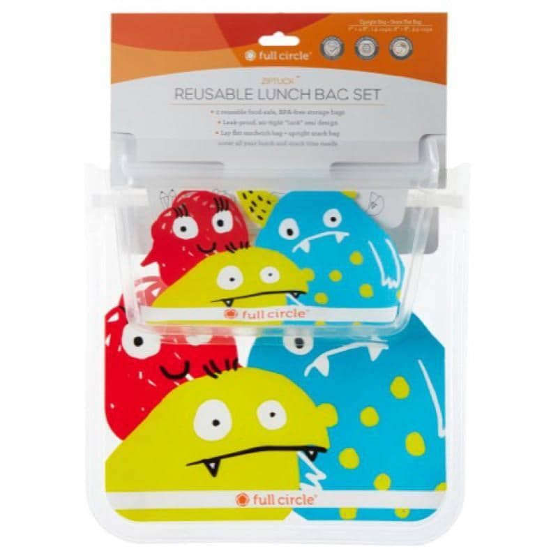 Full Circle - Reusable Monster Design Lunch Bags (2 pack)