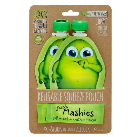 Little Mashies - Reusable Food Pouches - Green (2 x 130ml)