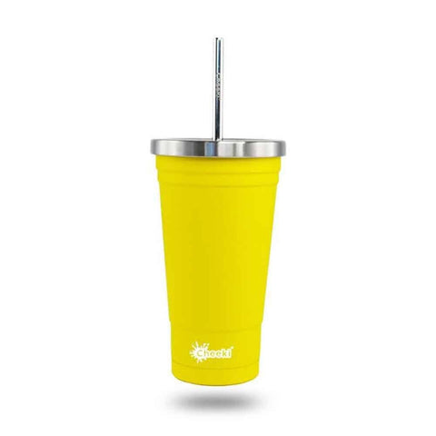 Cheeki - Insulated Stainless Steel Tumbler with Straw - Lemon 500ml