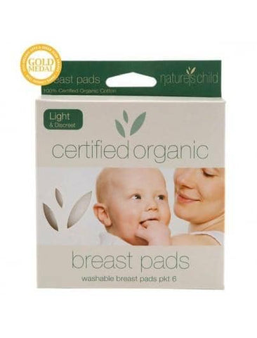 Nature's Child Organic Cotton Washable Breast Pads - 6 pack - Light/Discreet