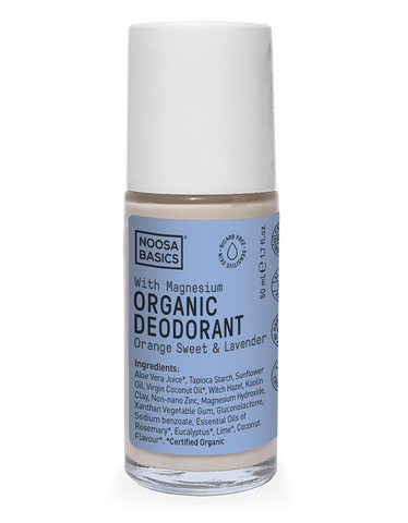 Noosa Basics - Organic Bicarb-Free Deodorant Roll-On with Magnesium - Orange Sweet and Lavender (50g)