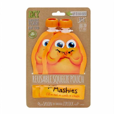 Little Mashies - Reusable Food Pouches - Orange (2 x 130ml)