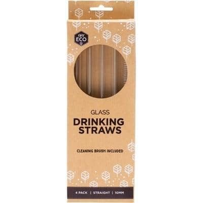 Ever Eco - Glass Drinking Straws - Straight (4 Pack with Cleaning Brush)
