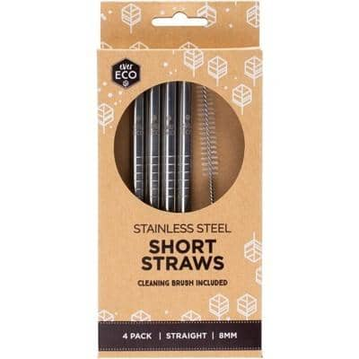 Ever Eco - Stainless Steel Straws - Short (4 Pack with Cleaning Brush)