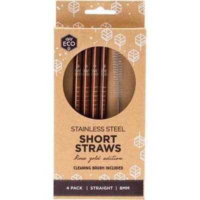 Ever Eco - Rose Gold Stainless Steel Straws - Short (4 Pack with Cleaning Brush)