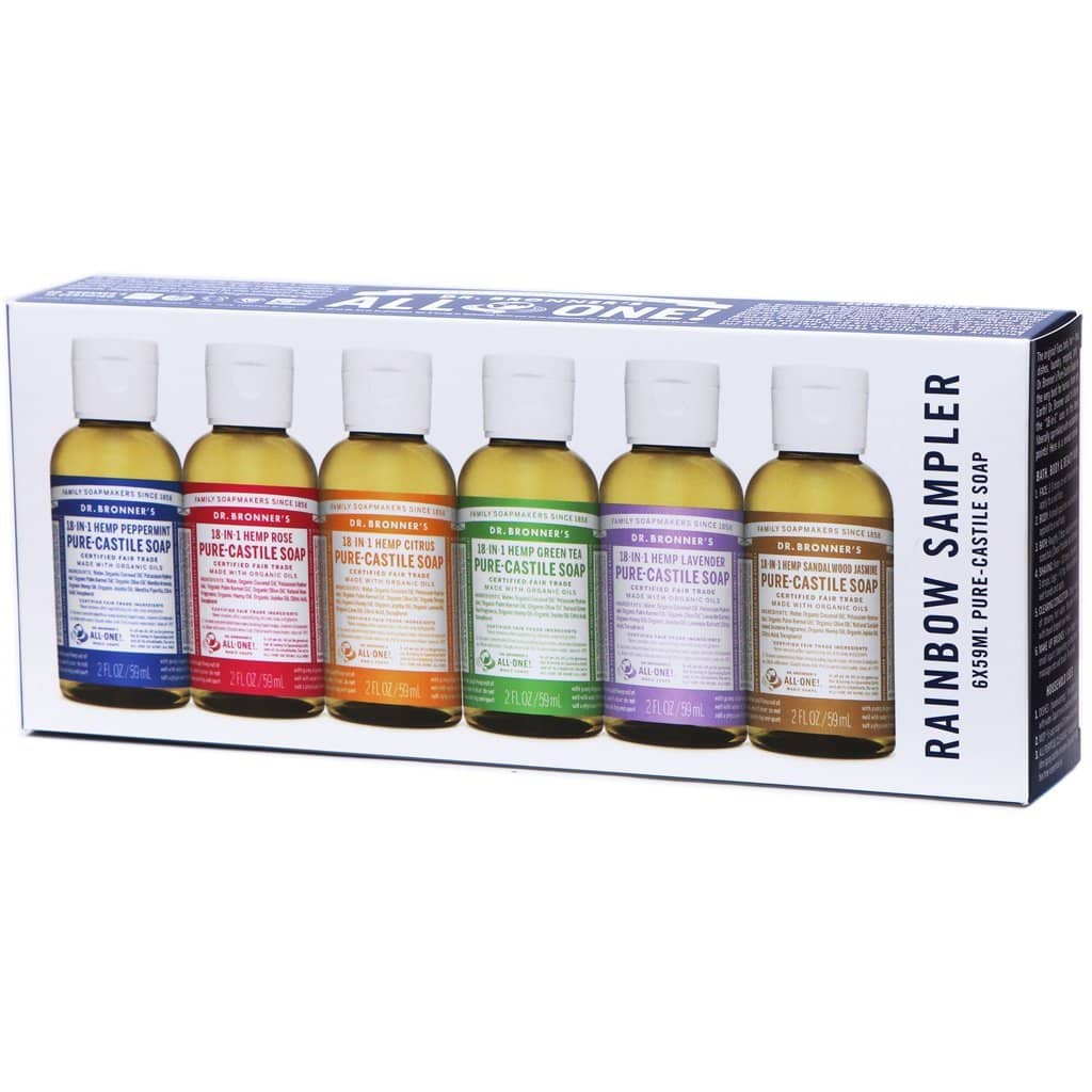 Dr Bronners - Pure Castile Liquid Soap Rainbow Sampler (6x59ml)