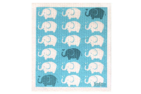 Retro Kitchen - Biodegradable Dish Cloth - Elephants