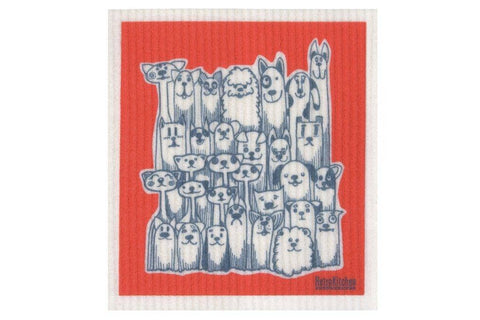 Retro Kitchen - Biodegradable Dish Cloth - Dogs and Cats