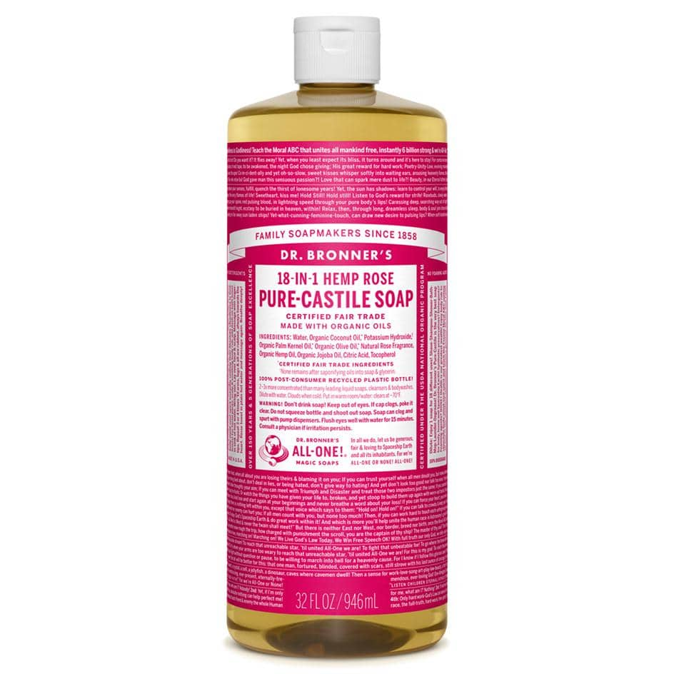 Dr Bronners - 18 in 1 Pure Castile Liquid Soap - Rose (946ml)