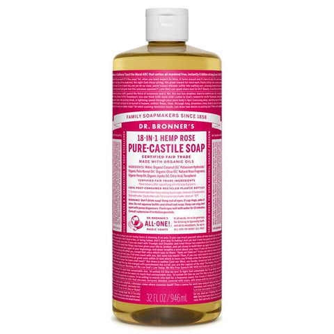 Dr Bronners 18 in 1 Pure Castile - Rose Liquid Soap 946ml