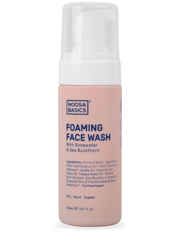 Noosa Basics - Foaming Face Wash with Rosewater and Sea Buckthorn - All Skin Types (150ml)