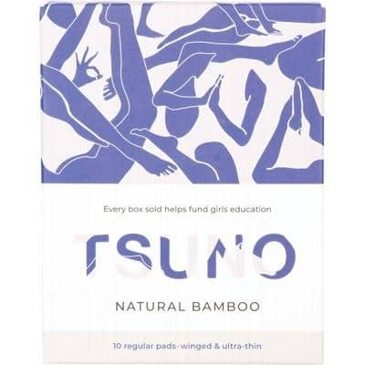 Tsuno - Natural Bamboo Ultra Thin Pads - Regular with Wings (10 pack)