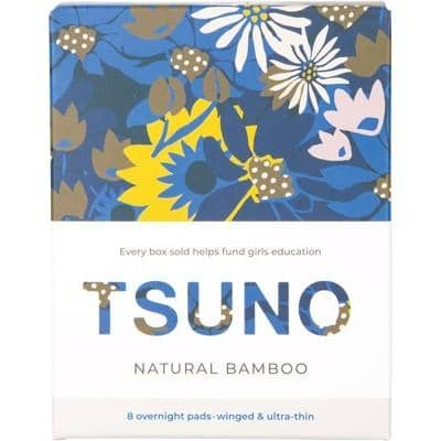 Tsuno - Natural Bamboo Ultra Thin Pads - Overnight with Wings (8 pack)
