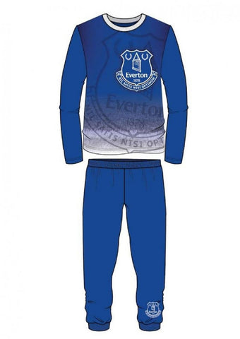 Boys Everton FC Blue Long Length Snug Fit Football Pyjama Age 4 to 12 Years - Character Direct
