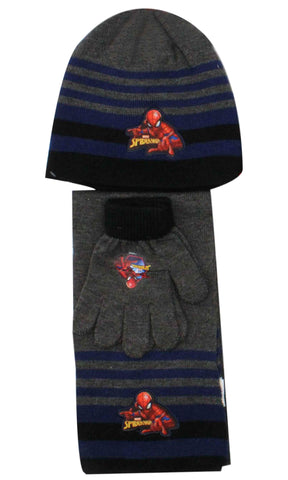 Official Boys Spiderman Hat Gloves and Beanie Hat Set One size 3-7 Years - Character Direct