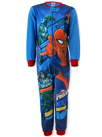 Marvel Spiderman Boys Fleece Onesie 3-8 Years - CharacterDirect