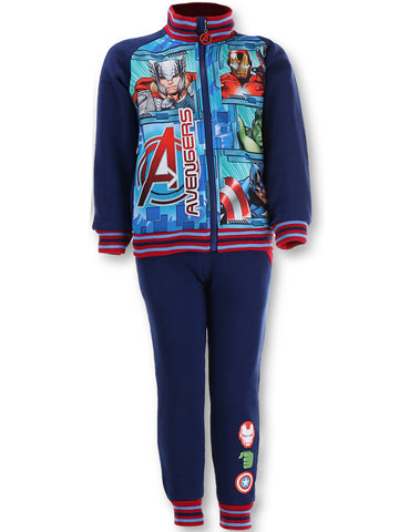 Marvel Boys Avengers Iron Man Capt America Print Fleece Lined Tracksuit Trackpant  Jogger Age 4 to 12 Years in Blue - Character Direct