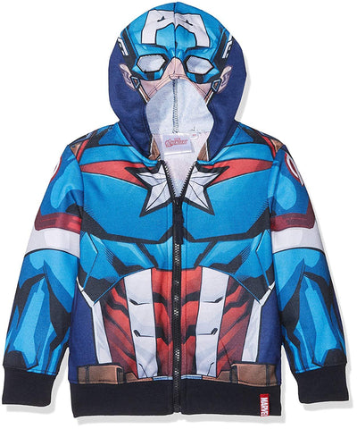 Marvel Boys Avengers Capt America Iron Man Hooded Top Age 3 to 10 Years