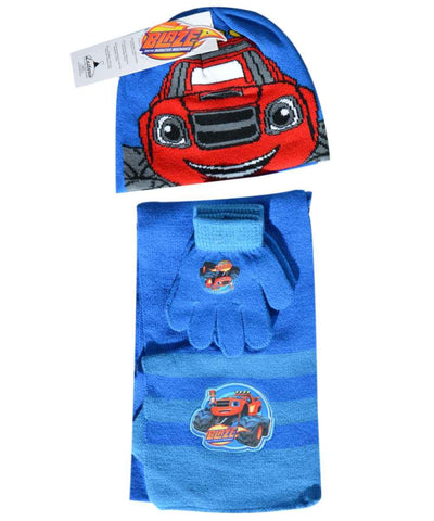 Official Boys Blaze Beanie Hat, Glove and Scarf Set One size 3-7 Years - Character Direct