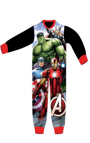 Boys Licensed Avengers Capt America Hulk Ironman Micro Fleece Onesies Age 3 to 8 Years - Character Direct