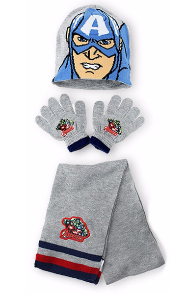 Official Boys Avengers Hulk Capt America Gloves , Beanie Hat & Scarf Set One size 4-10 Years - Character Direct