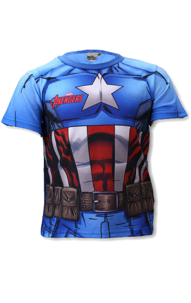 Avengers Capt America Boys Costume Print  Tshirt Top Age 3 to 8 Years - Character Direct