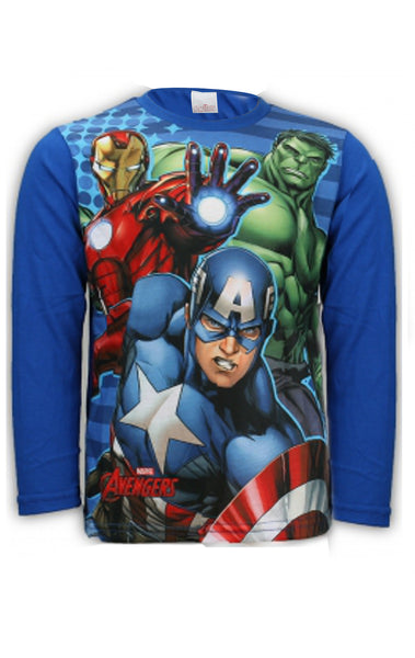 Boys Avengers Capt America Hulk Ironman Print Long Sleeve Top 4 to 12 Years - Character Direct