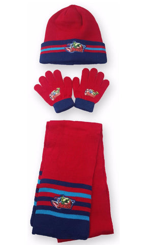 Official Boys Avengers Hulk Capt America Gloves , Beanie Hat & Scarf Set One size 4-10 Years - CharacterDirect