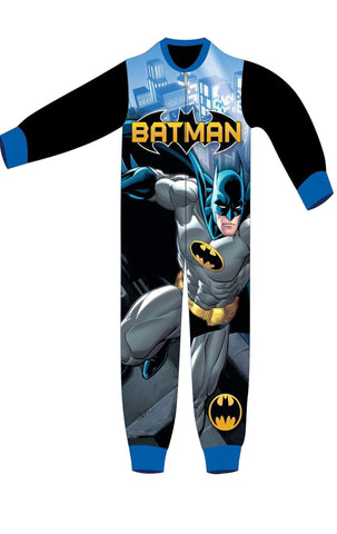 Boys Licensed Batman Micro Fleece Onesies Age 3 to 8 Years - Character Direct