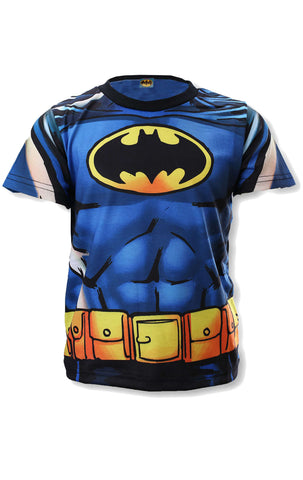 DC Comics Batman Boys Blue Costume Novelty Top Tshirt Age 3 to 8 Years - Character Direct