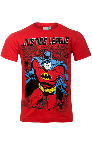 DC Comics Batman Boys Red Top T-Shirt Age 3 to 9 Years - Character Direct