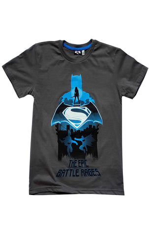 Boys Batman Vs Superman Print Tshirt Grey Top Age 9 to 14 Years - Character Direct