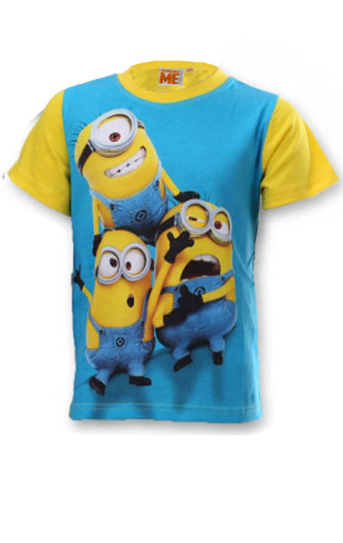 Despicable Me Boys Minions Short Sleeve T-shirt Top Age 6 to 12 Years in Blue - Character Direct